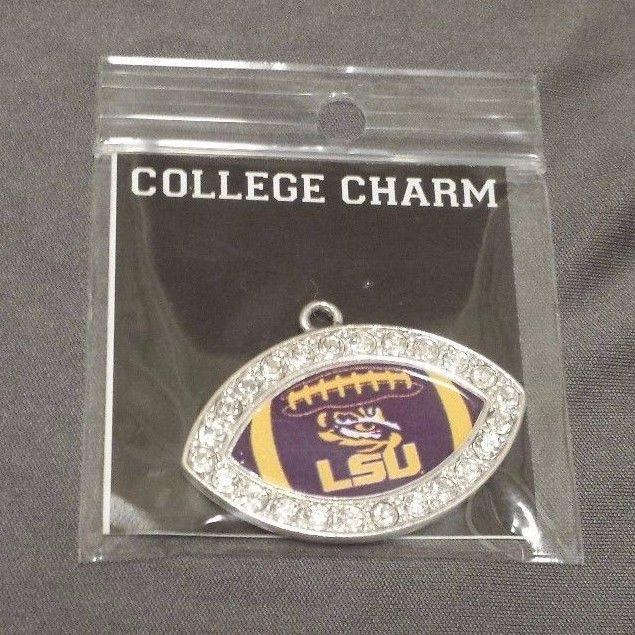 LSU Tigers NCAA Crystal Football Charm