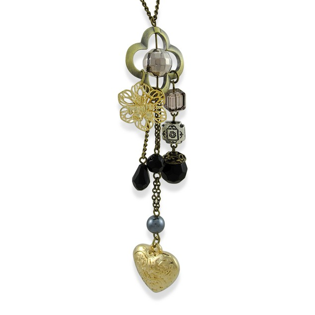 Burnished Brass Chatelaine Heart Beaded Necklace Womens Pendant Necklaces