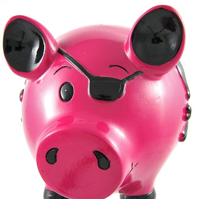 Pink Pirate Pig Black Skull Crossbones Piggy Bank Toy Banks