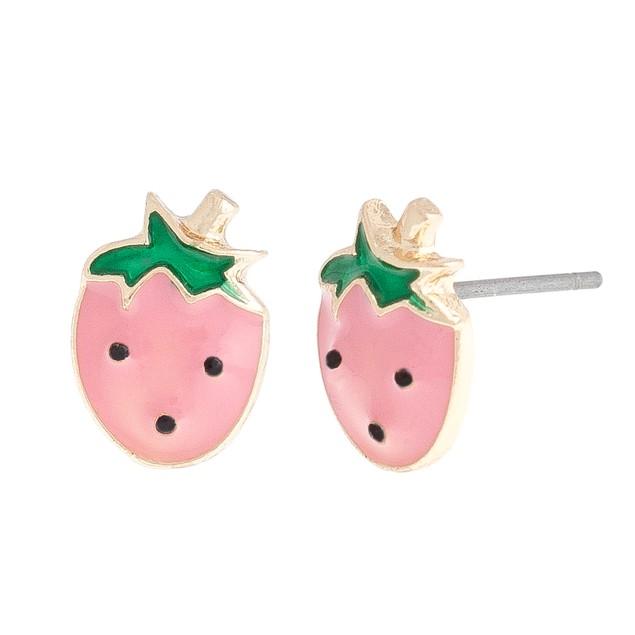 Enamel Strawberry Stud Earrings