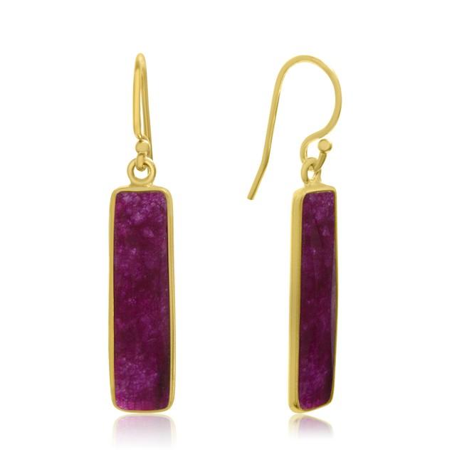 Gold Tone Sterling Silver 10 Carat Ruby Bar Earrings