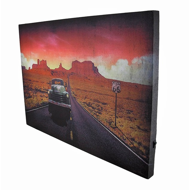 Vintage Truck On Route 66 At Sunset Led Lighted Prints
