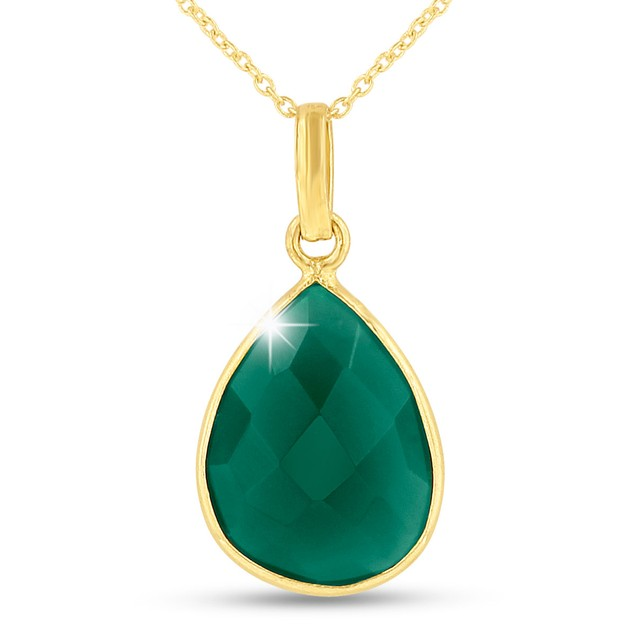 10ct Green Onyx Teardrop Necklace in 18k Gold Overlay