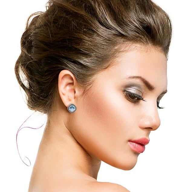 4 Carat Cushion Cut Crystal Aquamarine and Marcasite Stud Earrings