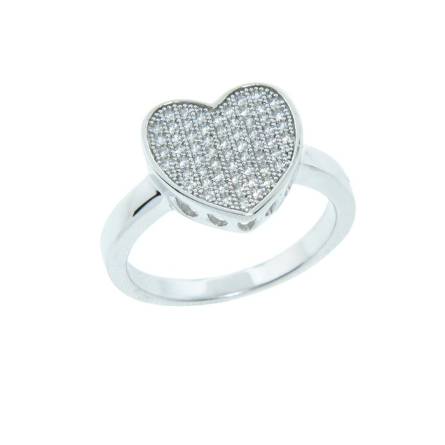 Sterling Silver Pave Heart Cocktail Ring