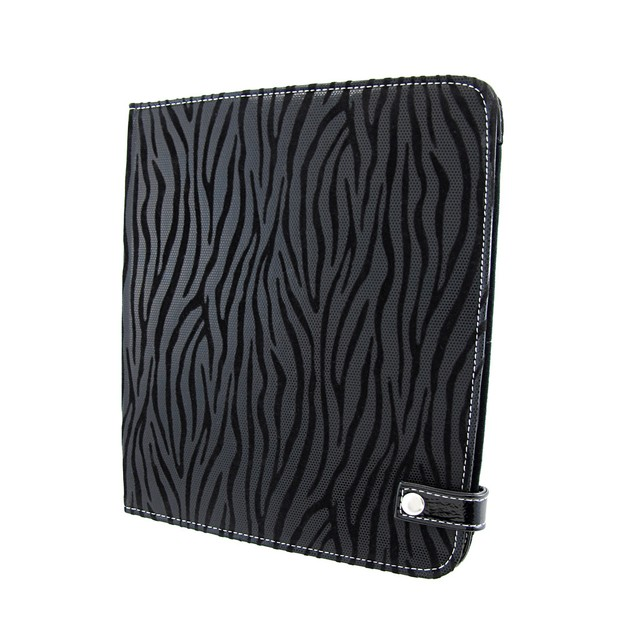 Metallic Black Zebra Striped Ipad Cover/Stand Touch Screen Tablet Computer