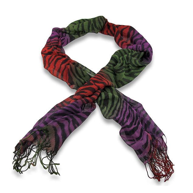 Multi-Colored Zebra Print Fashion Scarf Womens Fashion Scarves