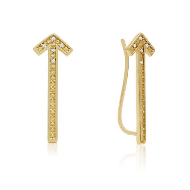 Gold Tone Diamond Accent Arrow Ear Climbers