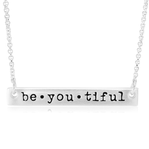 Be You Tiful Beautiful Stamped Bar Necklace