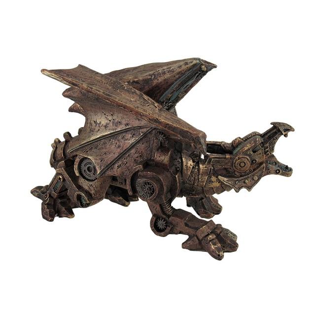 Metallic Copper Finish Mechanical Steampunk Dragon Statues