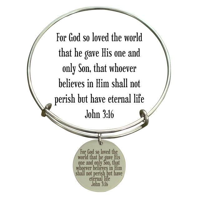 Holy Scripture Bangle JOHN 3:16 GALATIANS 5:22