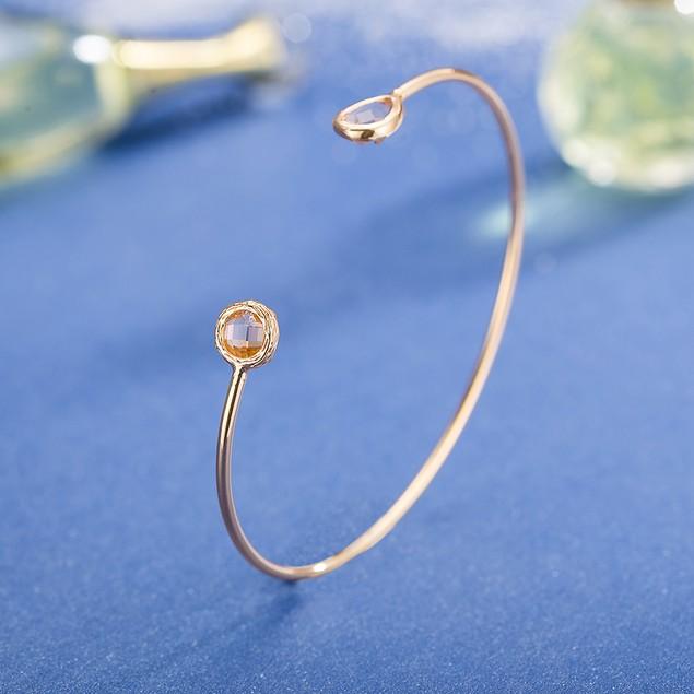 Gold Plated Open Ended Crystal Swarovski Bangle