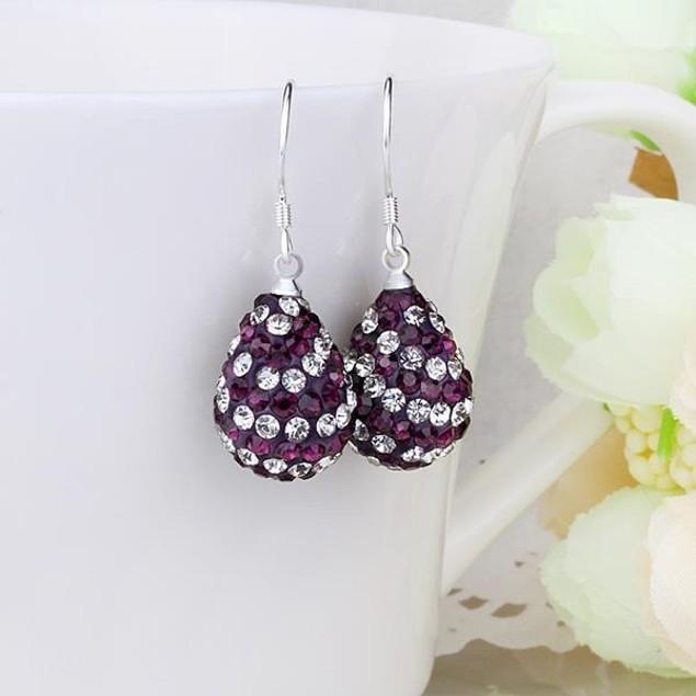 Two Toned Austrian Stone Pear Shaped Drop Earrings -Dark Lavender