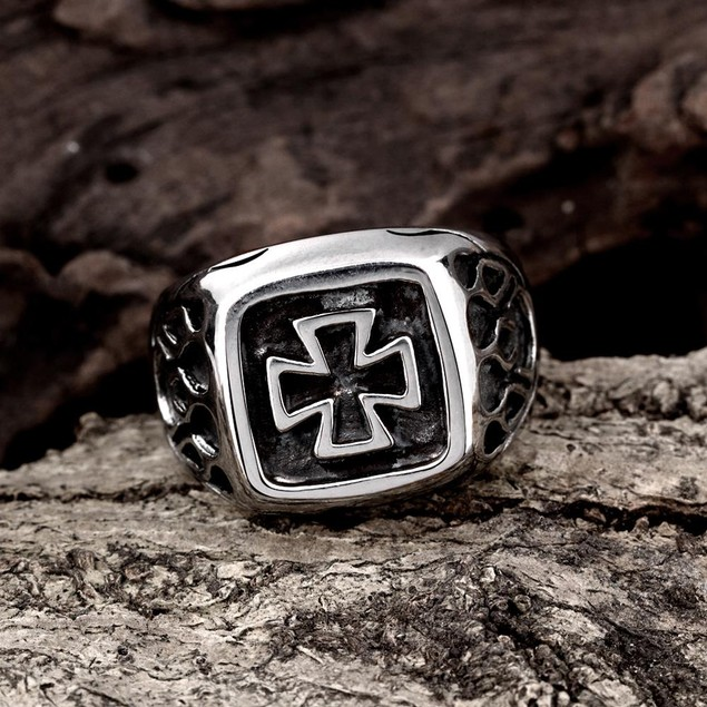 Mini Cross Square Stainless Steel Ring