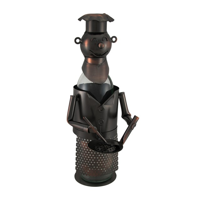 Chef With Pan Bottle Holder Culinary Art Table Top Tabletop Wine Racks