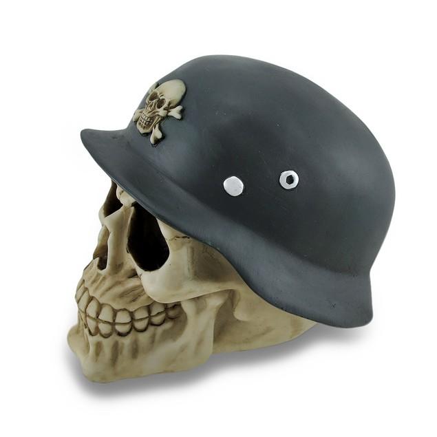 Skull Wearing Green Military Helmet W/Skull And Statues