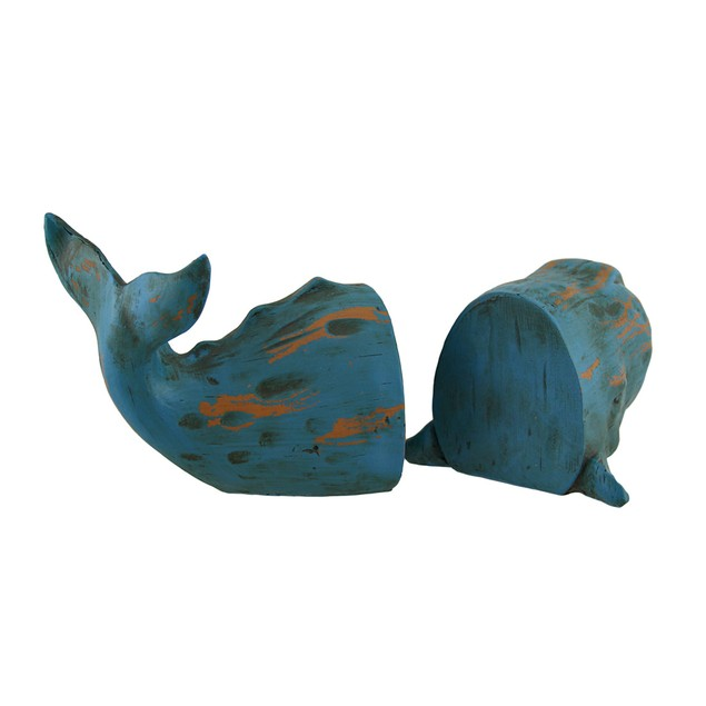 Blue Distressed Finish Whale Top And Tail Bookends Decorative Bookends