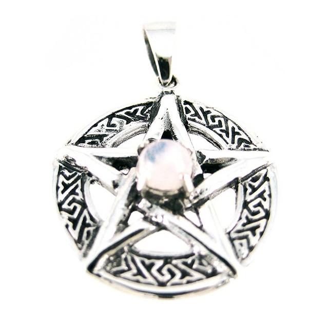 Sterling Silver Celtic Pentacle Pendant Clear Womens Pendants
