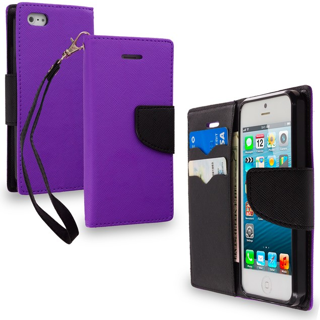 Apple iPhone 5 Wallet Flip Pouch TPU Case Cover