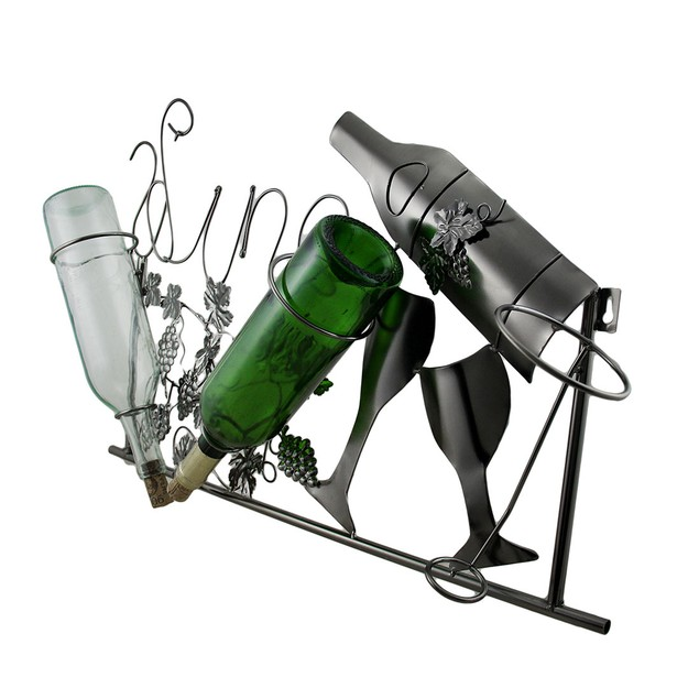 Steel Harvest Sculptural Grapevine Theme Wall Wine Bottle Holders