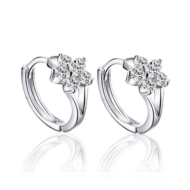Cubic Zirconia Flower Huggie Earrings