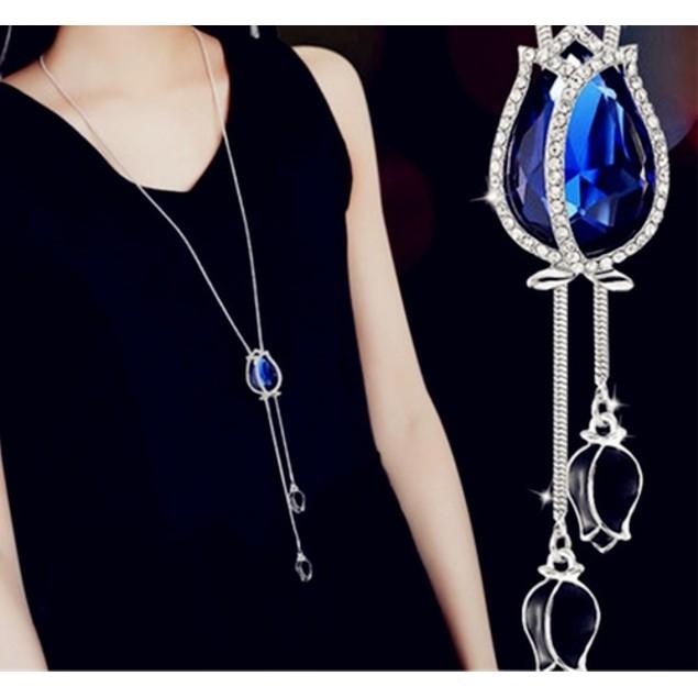 Magical Tulip Diamante Encrusted Exquisite Long Chain Necklace