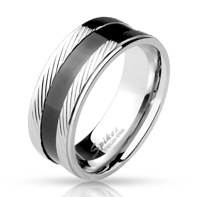 Step Edge Diagonal Lines with Black Center Stainless Steel Ring