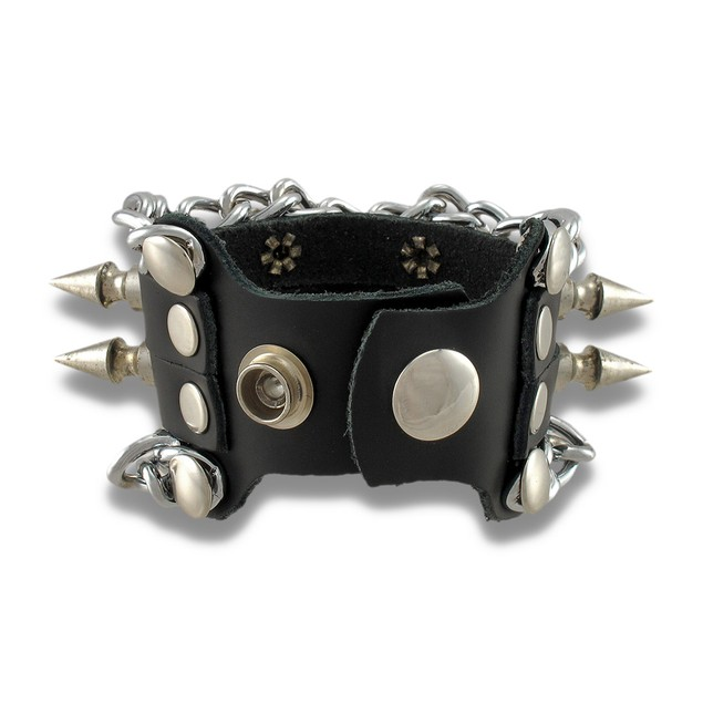 Black Leather Adjustable Wristband W/ Spikes And Mens Leather Bracelets