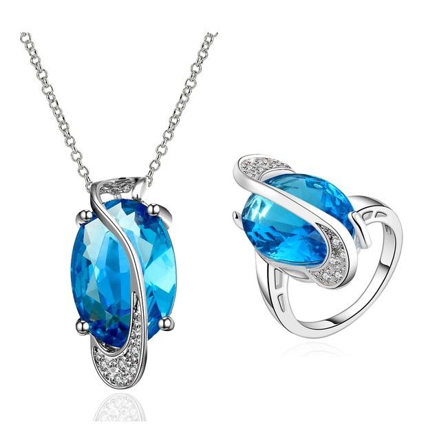 Geometric Infinity Ring, Necklace Imitation Sapphire Austrian Crystal Set