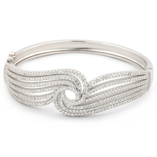 Sterling Silver Micro Pave Endless Wave Bangle