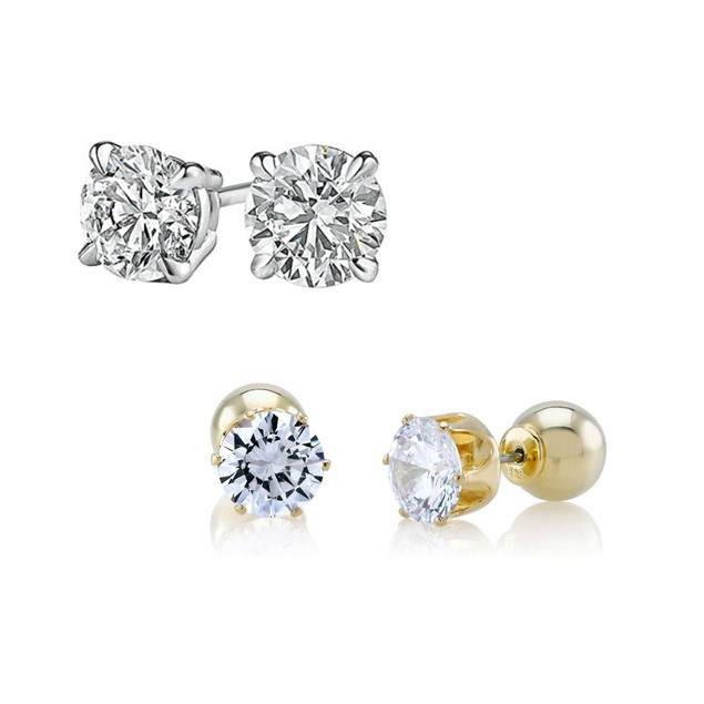 2-Pack: White & Yellow Gold Plated Round CZ Stud Earrings