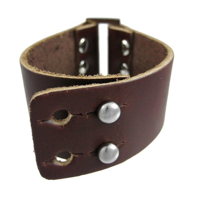Brown Leather Strap Bracelet Chrome Accents Mens Leather Bracelets