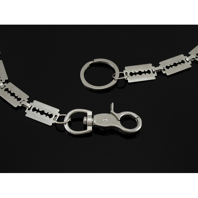 Polished Chrome Razor Blade Link Wallet Chain 31 Mens Wallet Chains