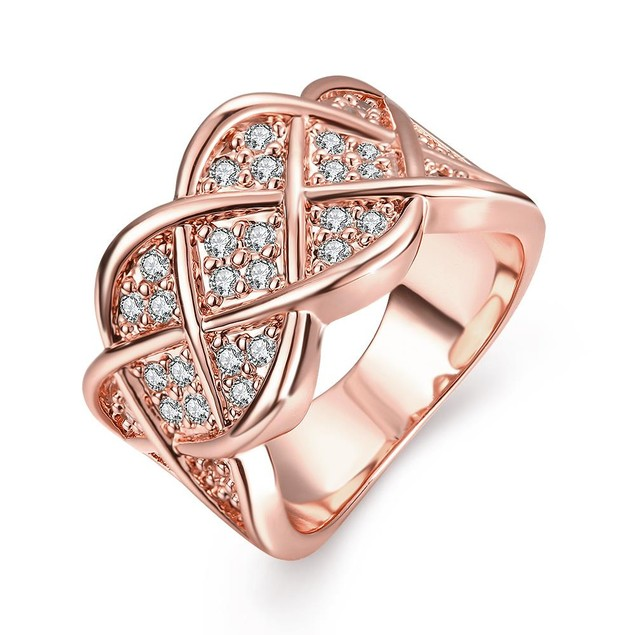 Rose Gold Plated Spiral Curved Modern Ring