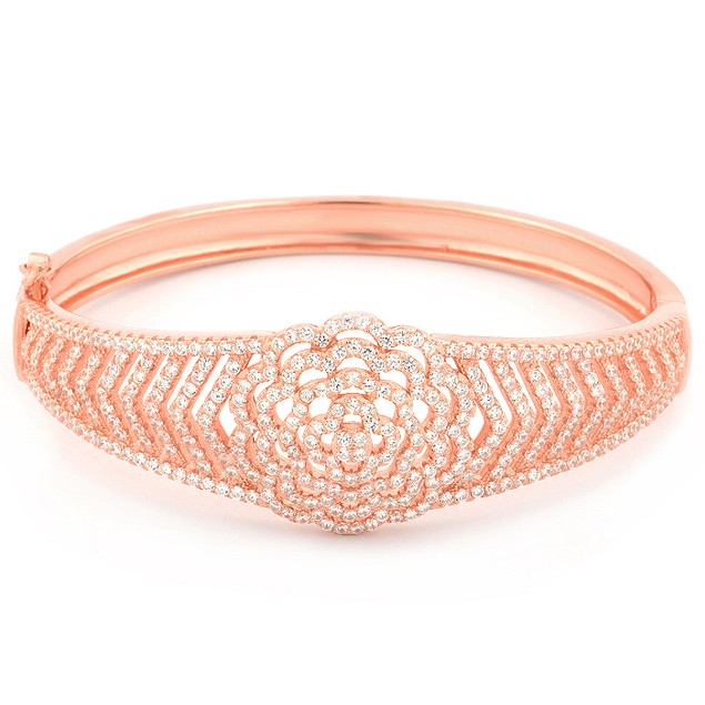 Rose Gold Plated Sterling Silver Flower Bangle