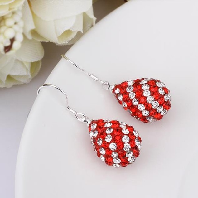 Two Toned Austrian Stone Pear Shaped Drop Earrings -Red