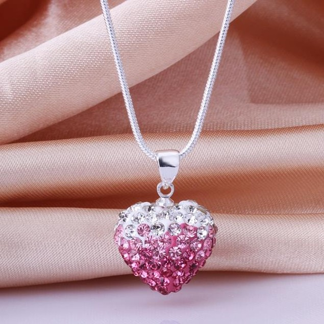 Two Toned Crystal Austrian Stone Heart Shaped Necklace - Light Coral