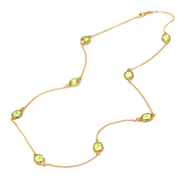 Peridot Round-Cut Crystal Necklace