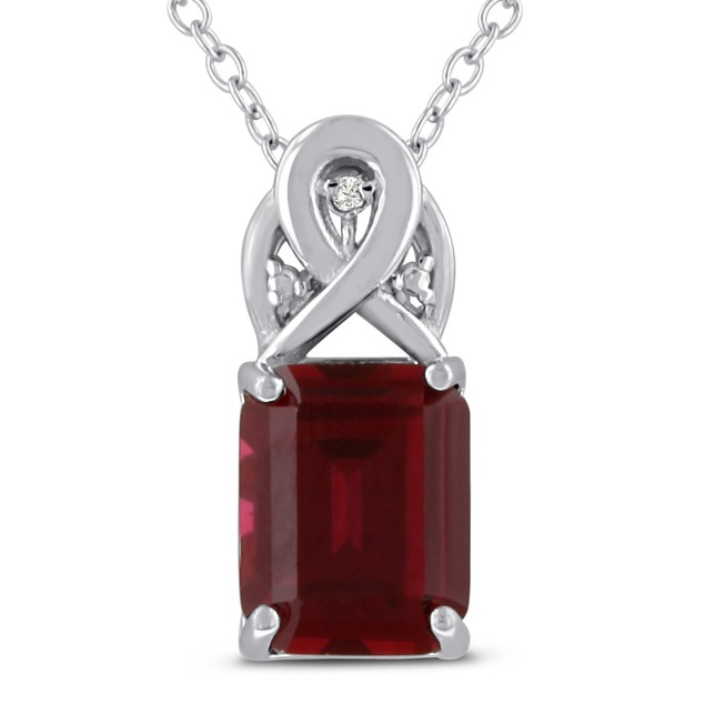 3 Carat Emerald Shape Created Ruby and Diamond Necklace In Sterling Silver