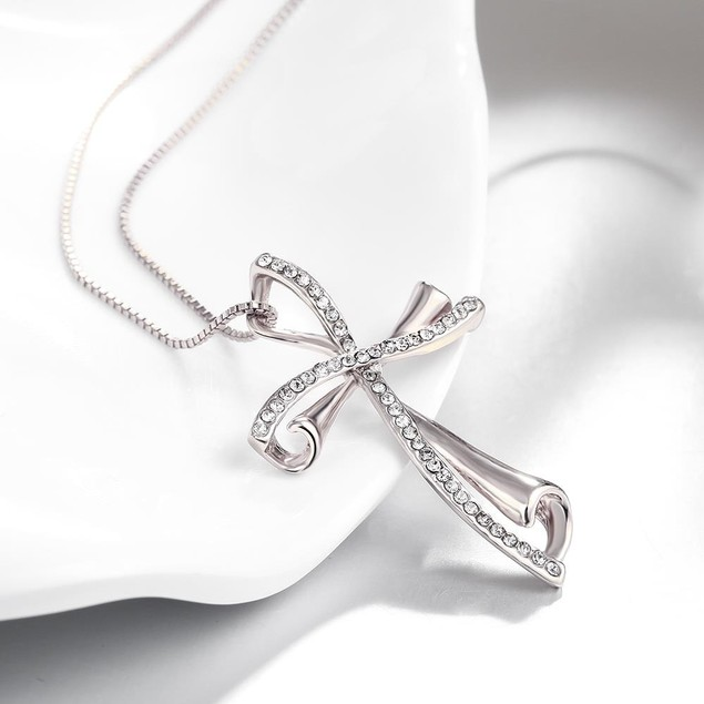 Gold Plated Crystal Cross Necklace - 2 Colors