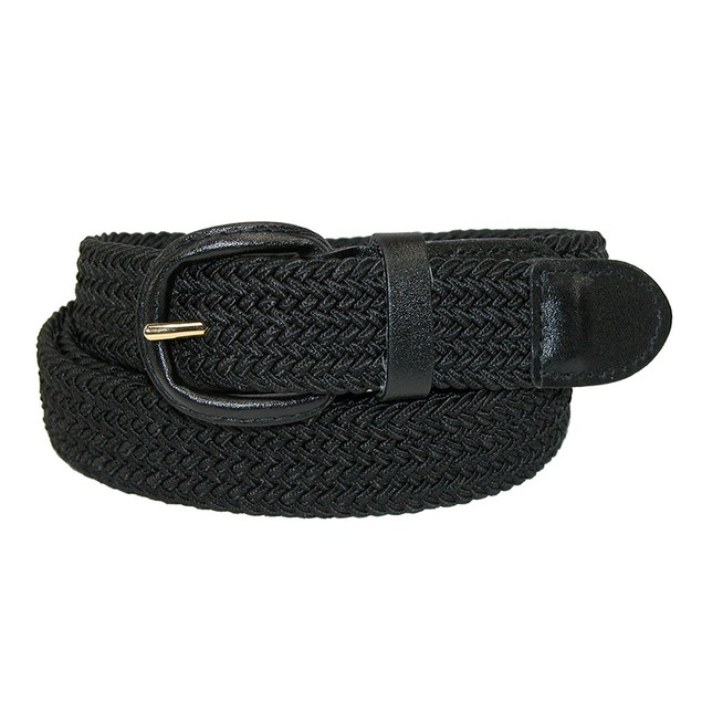 Unisex Braided Elastic Woven Stretch Belt with Genuine Leather Buckle