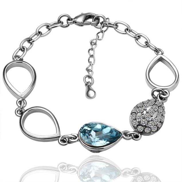 White Gold Plated Hollow Circles Bracelet with Austrian Crystal