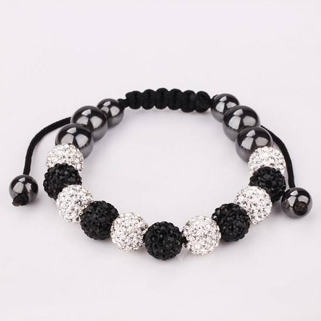 Ivory & Onyx Beads 80's Glam Bracelet