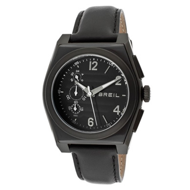 Breil Men's Chronograph Black Dial Black Genuine Leather