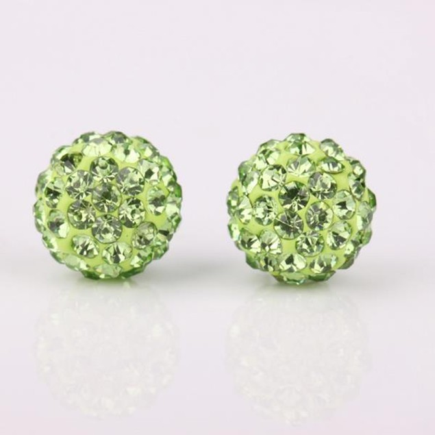 Vivid Light Austrian Stone Green Stud Earrings