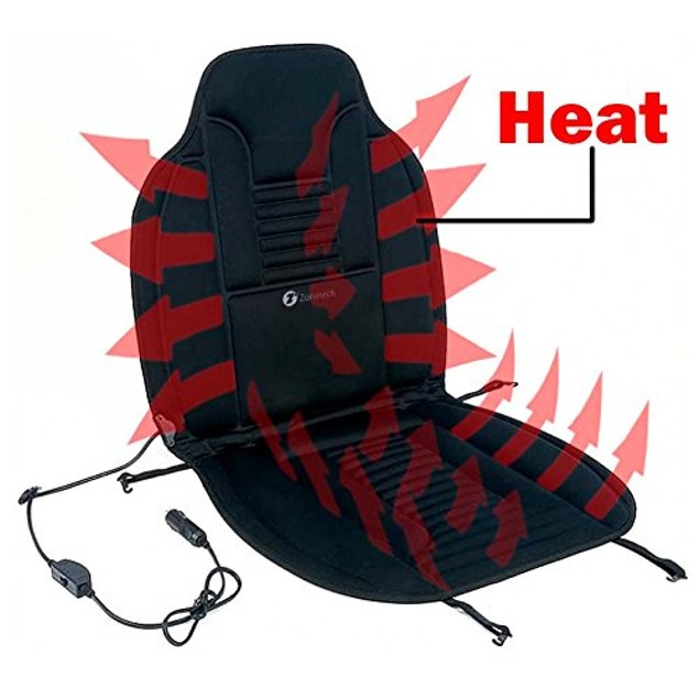 Zone Tech Heated Car Seat Cushion 12V Heating Warmer Pad Hot Cover