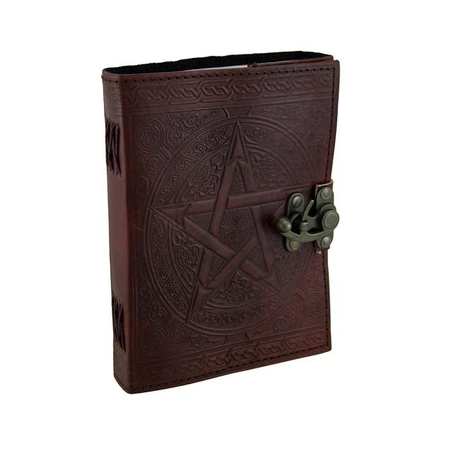 Pentagram Embossed Brown Leather Bound Journal 5X7 Art Sketchbooks And