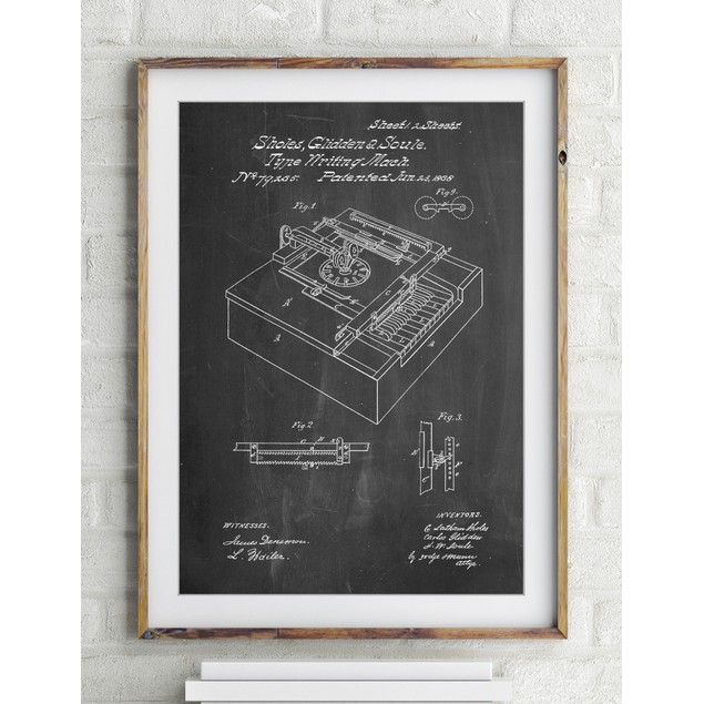 Sholes and Glidden Type- Writer Patent Poster