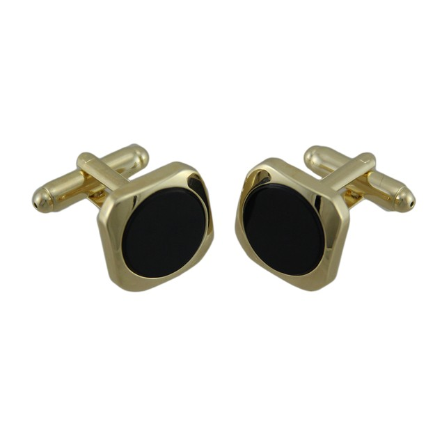 Gold Plated Inlaid Round Black Onyx Cufflinks Mens Cuff Links