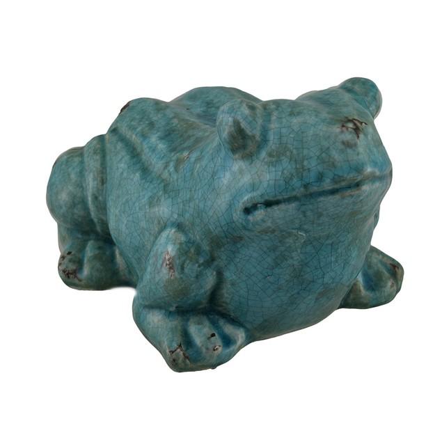 Distressed Finish Verdigris Ceramic Frog Statue Statues